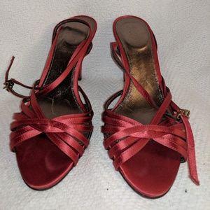 J Crew Red Fabric Ankle Wrap Open Woven Toe Kitten